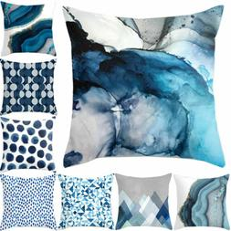 "18"" Blue Simple Pattern Pillow Cases Sofa Car Waist Throw Cu"