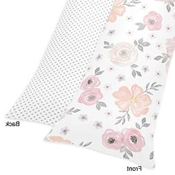 Sweet Jojo Designs Blush Pink, Grey and White Body Pillow Ca