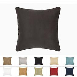 DreamHome 18 X 18 Inches Brown Color Faux Suede Decorative P