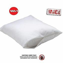 new standard size zippered percale pillow protector / 2 pac