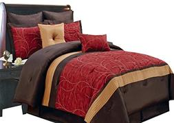 Sheetsnthings 12 PC Queen Size Atlantis Red Bed in a Bag inc