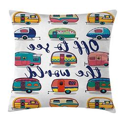 Ambesonne Camper Throw Pillow Cushion Cover by, Off to See t