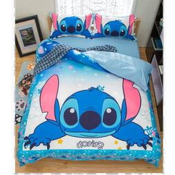 Cartoo lilo and stitch bedding set 3 pcs single double twin
