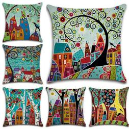 Cartoon Landscape Sofa Cushion Covers Throw Pillow Cases Roo