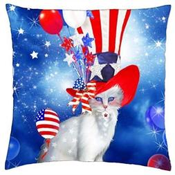 Fornate Cat in Patriotic Hat - Throw Pillow Cover Case