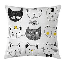 Ambesonne Cat Throw Pillow Cushion Cover, Stylish Cats with