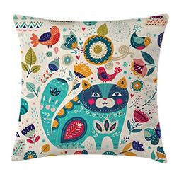 Cat Throw Pillow Cushion Cover by Ambesonne, Cat Figure with