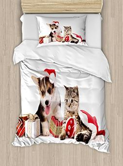 Ambesonne Christmas Duvet Cover Set Twin Size, Dog and Cat i