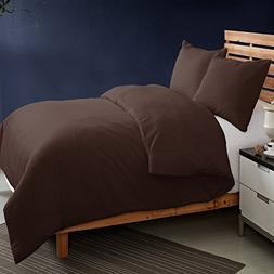 NTBAY Coffee Microfiber 3 Pieces King Size Duvet Cover Set w