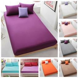Cotton Bed Fitted Sheets Full Queen Bedding Cover Set Standa