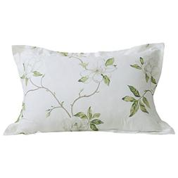 FADFAY Cotton Decorative Pillowcase White Floral Print Patte