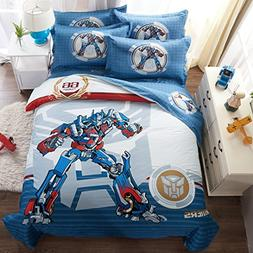 CASA 100% Cotton Kids Bedding Set Boys Optimus Prime Duvet c