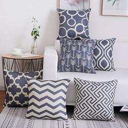 famibay Cotton Linen Pillow Covers Square Double-Sided Geome