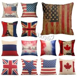 Cotton Linen Sofa Cushion Cover American Flag Pillow Cases H