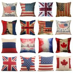 Cotton Linen Sofa Cushion Cover Vintage American Flag Pillow