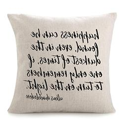 "CHICCAT Cotton Linen Throw Pillow Case - ""Happiness Can be F"