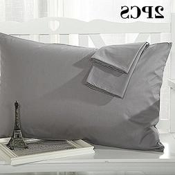 100% Cotton Pillowcases, 2pcs Skin-friendly and Breathable P