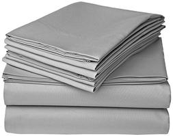 100% Cotton Pillowcases - Set of 2 King, Solid Grey - 300TC,