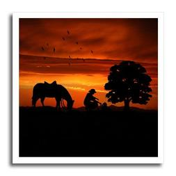 3dRose Cowboy Campfire with Horse on a Hill at Sunset has a