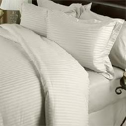Ivory Damask Stripe TWO piece Standard / Queen Size Pillow c