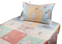 J-pinno Cute Cartoon Puppy Cat Mouse Printed Twin Sheet Set