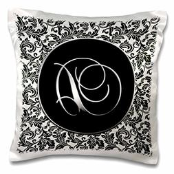 3dRose Letter D-Black and White Damask-Pillow Case, 16 by 16