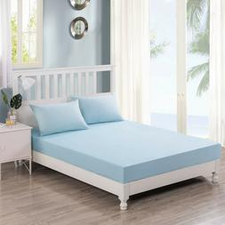 DaDa Bedding Luxury Pastel Baby Blue 100% Cotton Fitted Shee