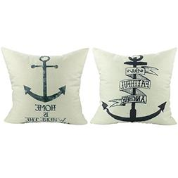 Onker 2 Pieces Decorative Cotton Linen Square Throw Pillow C