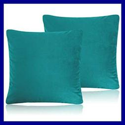 Decorative Pillow Cases TEAL Pack Of 2 Cozy Solid Velvet Thr