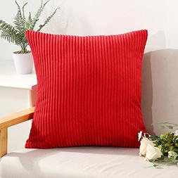 Miaote Decorative Striped Corduroy Throw Pillow Covers Cases