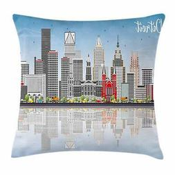 Detroit Throw Pillow Cases Cushion Covers Home Decor 8 Sizes