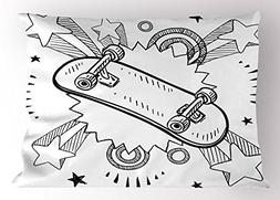 Ambesonne Doodle Pillow Sham, Sketch of a Skateboard with Si
