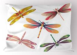Ambesonne Dragonfly Pillow Sham, Five Spiritual Bugs in Mode