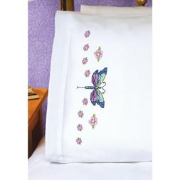 Dragonfly Pillowcase Pair Stamped Cross Stitch-20X30