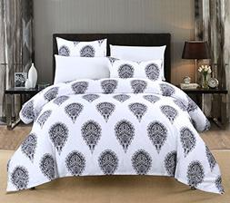 Duvet Cover Set Queen 100% Egyptian Cotton Sateen Medallions