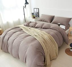 DOUH 3 Pieces Duvet Cover Set Jersey Knit Cotton King Size C