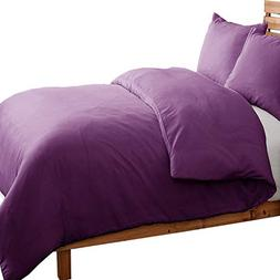 NTBAY 3 Pieces Duvet Cover Set Solid Color Microfiber with H
