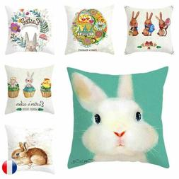 Easter Rabbit Egg Pattern Cushion Cover Throw Pillow Cases H