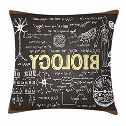 Educational Throw Pillow Cushion Cover by Ambesonne, Black C