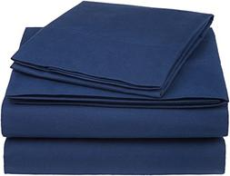 AmazonBasics Essential Cotton Blend Sheet Set -Twin, Navy