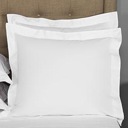 Mayfair Linen European Square Pillow Shams Set of 2 White 60