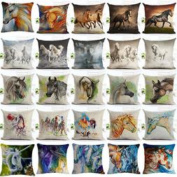 FA- Watercolor Horse Pillow Cases Cotton Linen Sofa Cushion