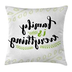 Ambesonne Family Throw Pillow Cushion Cover, Cute Lettering