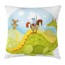Ambesonne Fantasy Throw Pillow Cushion Cover, Knight Don Qui