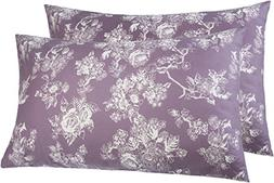 Pinzon 170 Gram Flannel Pillowcases - King, Floral Lavender