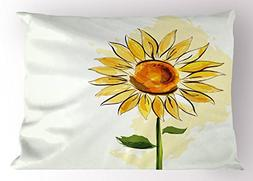 Ambesonne Flower Pillow Sham by, Summer Sunflower in Waterco