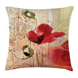 Flower Throw Pillow Cushion Cover by Ambesonne, Red Poppy Fl