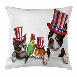 Ambesonne Fourth of July Throw Pillow Cushion Cover, Cute Pe