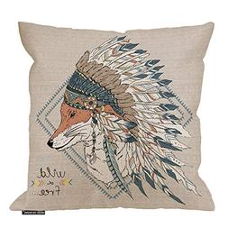 HGOD DESIGNS Fox Pillow Case,Native American Fox Warrior in