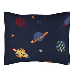 Galactic Rocket Ship Planets Pillow Sham for Space Galaxy Be